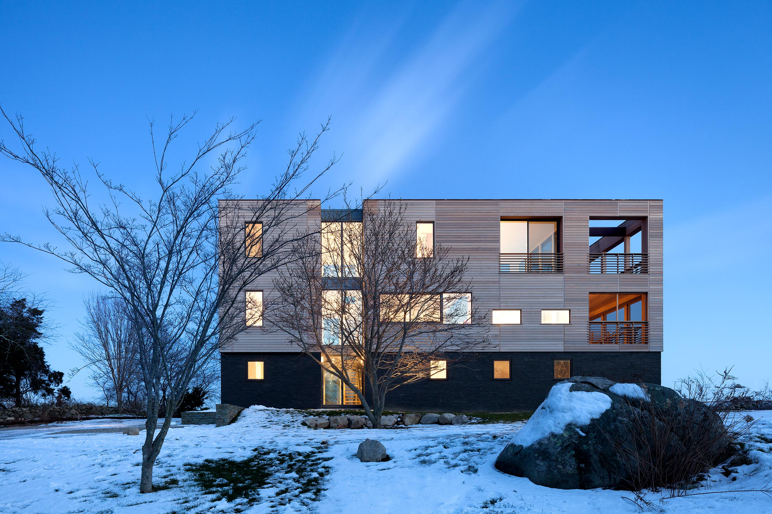 Westerly, Rhode Island Residence, Modern Architecture, Blue Hour Photography